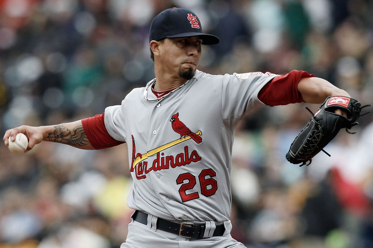 PITTSBURGH, PA - APRIL 22:  Kyle Lohse #26 of the St Louis Cardinals pitches against the Pittsburgh Pirates during the game on April 22, 2012 at PNC Park in Pittsburgh, Pennsylvania.  (Photo by Jared Wickerham/Getty Images)