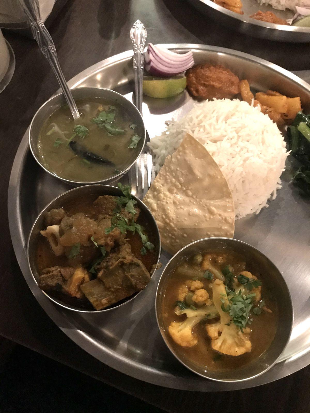 Goat thali from Laliguras Restaurant