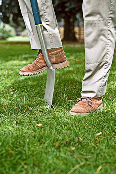 Man With Digging Spade On Grass