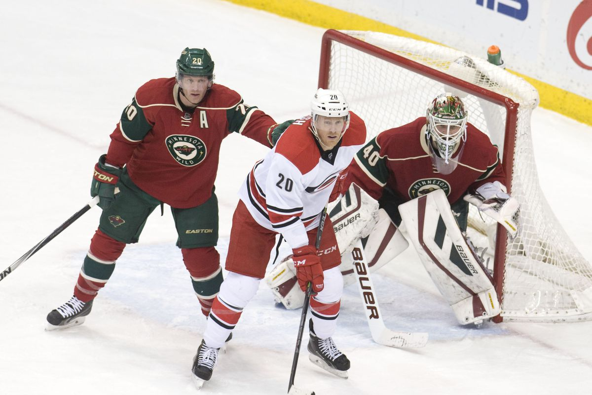 Riley Nash in front of the Wild net on Saturday night