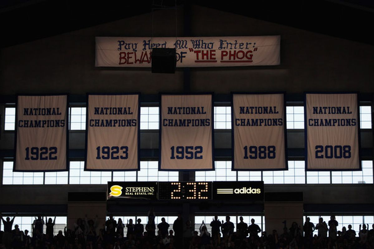 LAWRENCE KS - JANUARY 15:  Kansas fans cheer during  the game between the Kansas Jayhawks and the Nebraska Cornhuskers on January 15 2011 at Allen Fieldhouse in Lawrence Kansas.  (Photo by Jamie Squire/Getty Images)