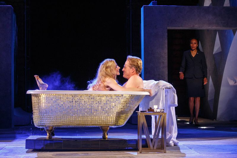 Tina Benko and Gregg Henry as Julius Caesar and his wife Calpurnia in Shakespeare in the Park's Julius Caesar