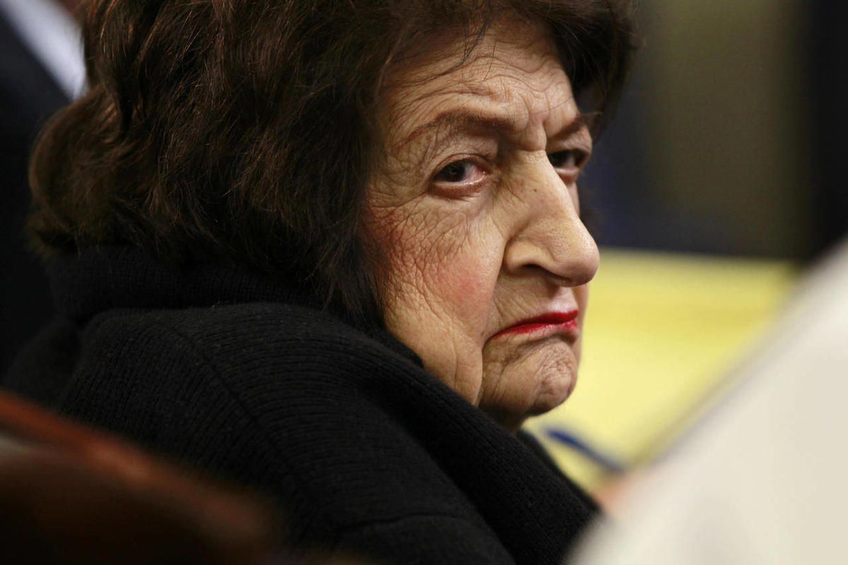 FILE - In this May 17, 2010 file photo, veteran White House correspondent Helen Thomas listens as Press Secretary Robert Gibbs briefs reporters at the White House in Washington. A senior Palestinian official said Tuesday, April 3, 2012 that the top Palest