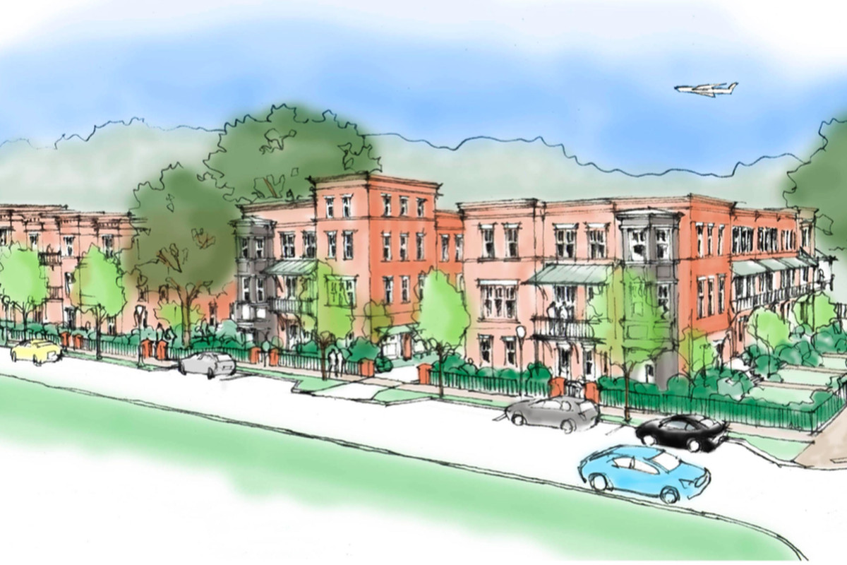 A rendering of plans for the corner of Temple Avenue and Washington Street in College Park.