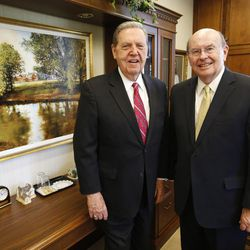 Elder Jeffrey R. Holland, left, and Elder Quentin L. Cook, former mission companions in England in the early 1960s, pose at the Church Administration Building  in Salt Lake City on June 23, 2017. They are now both members of the Quorum of the Twelve Apostles.