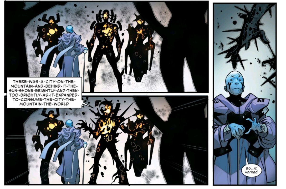 """The Phalanx entity tells the elder the correct code phrase — """"There was a city on the mountain and behind it the sun shone brightly and then too brightly as it expanded to consume the city the mountain the world"""" — in Powers of X #4, Marvel Comics (2019)."""