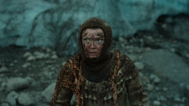 Halla (Halldóra Geirharðsdóttir) looking a little worse for the wear in <em>Woman at War.</em>