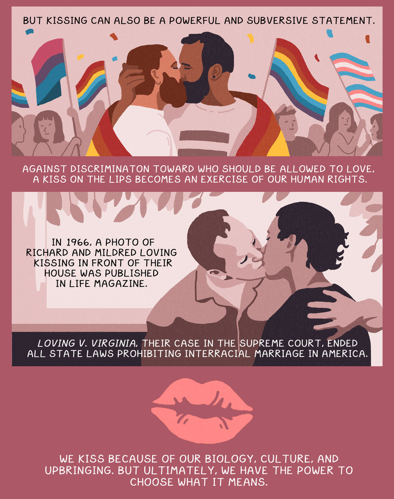 But it can also be a subversive statement too. In 1966, a photo of Richard and Mildred Loving kissing was published at a time when it was illegal for them to be married as an interracial couple. Ultimately, we have the power to choose what kissing means.