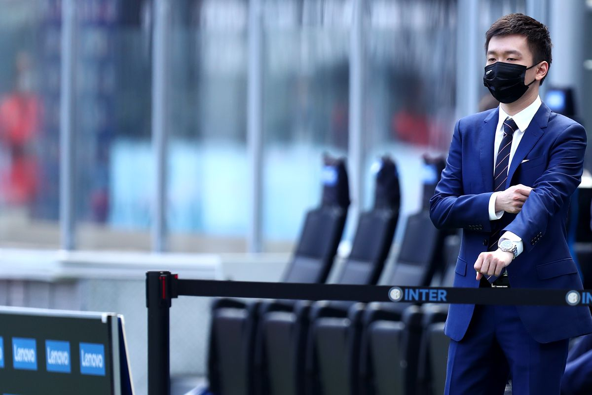 President of Fc Internazionale Steven Zhang looks on before...