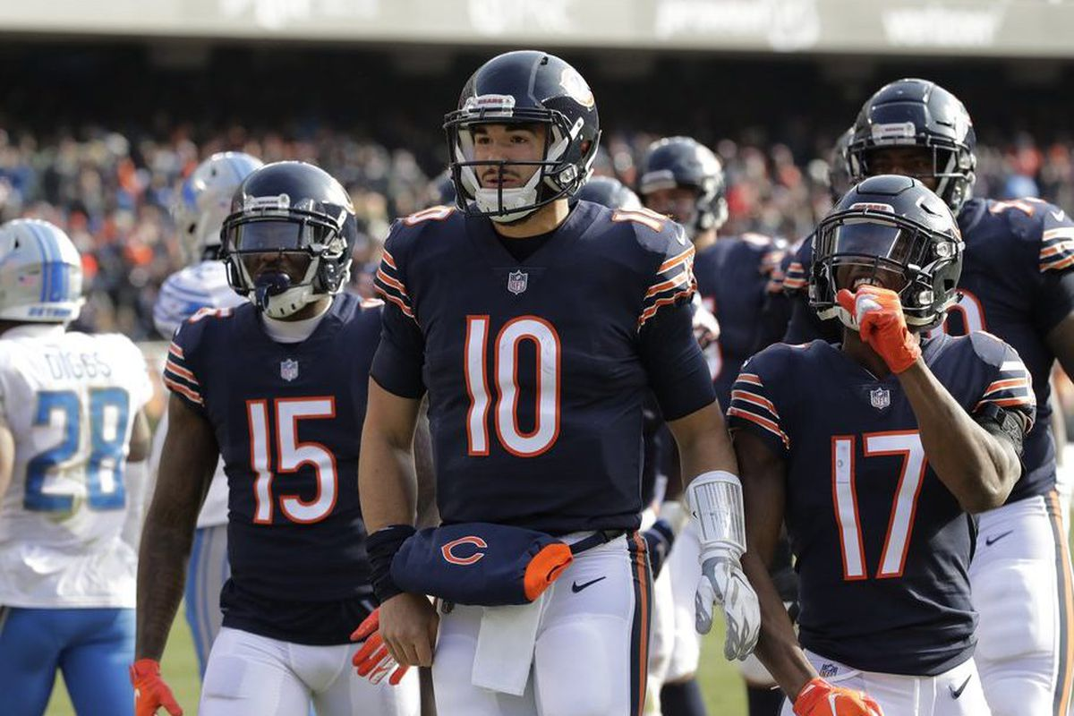 66f0d281ddd Bears quarterback Mitch Trubisky (10) celebrates after a touchdown against  the Lions on Sunday. | AP Photo/Nam Y. Huh