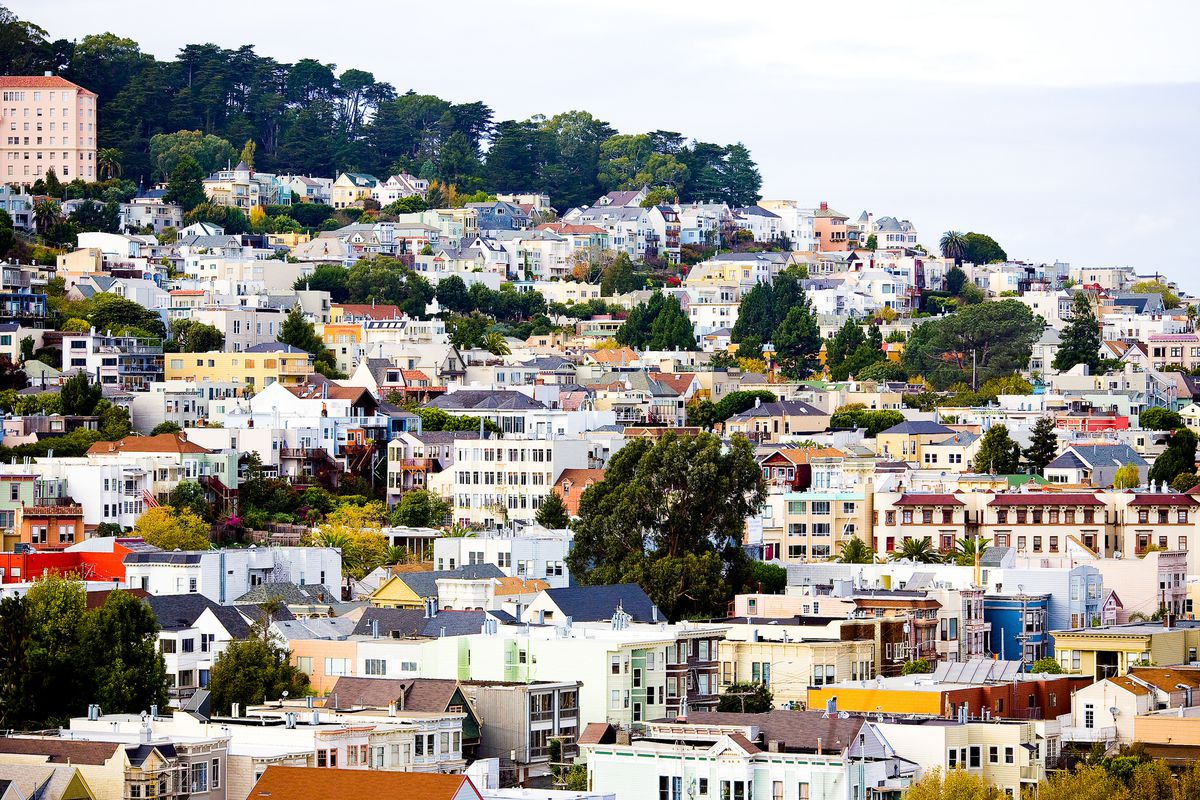 Homes on the hill in Noe Valley