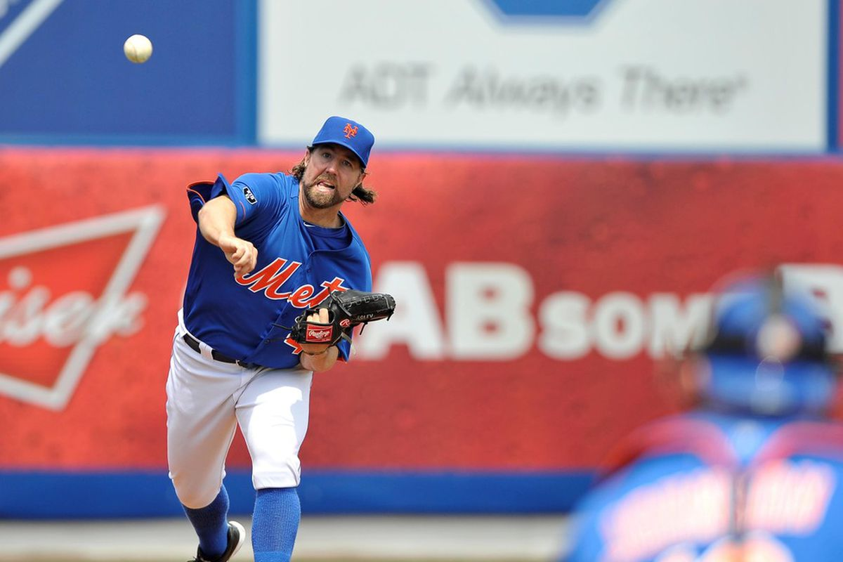 March 22, 2012; Port St Lucie, FL, USA;   New York Mets starting pitcher R.A. Dickey (43) warms up iprior to the  spring training game against the Houston Astros at Digital Domain Park. Mandatory Credit: Brad Barr-US PRESSWIRE