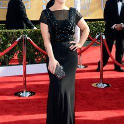E!'s Kelly Osbourne in straight-off-the-runway Jenny Packham.