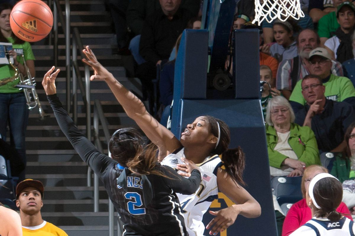Alexis Jones left Duke's game at Notre Dame in the second half after making a layup over Markisha Wright.