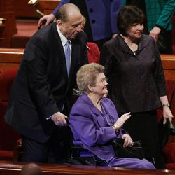 President Thomas S. Monson escorts his wife Francis after the 182nd Annual General Conference for The Church of Jesus Christ of Latter-day Saints in Salt Lake City  Sunday, April 1, 2012.