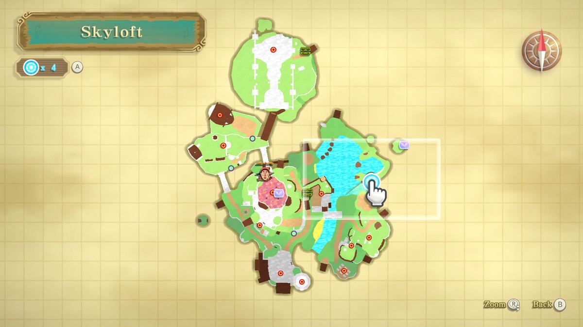 A map from The Legend of Zelda: Skyward Sword HD