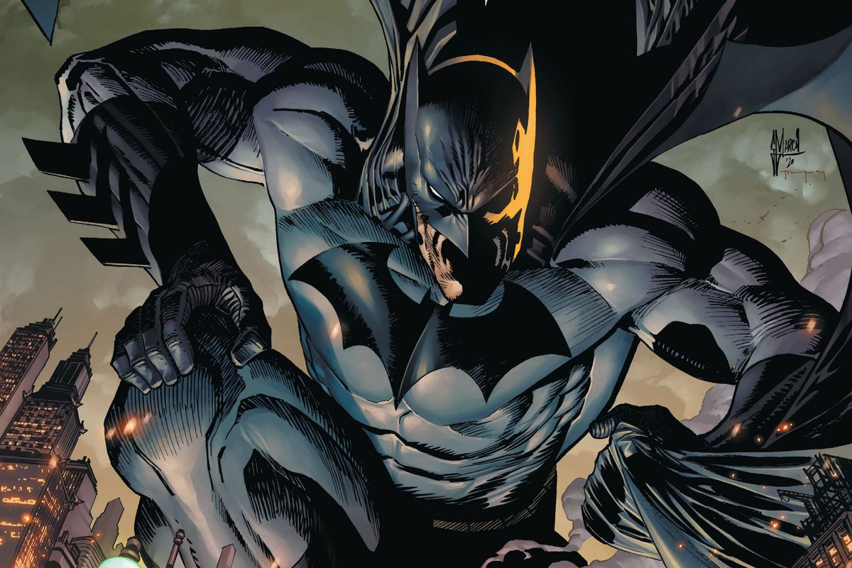 Batman crouches on a rooftop on the cover of Batman #101, DC Comics (2020).