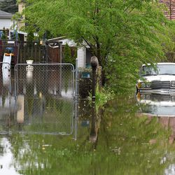 Backyards along Rand Road in Des Plaines are flooded from an overrun Des Plaines River Monday.