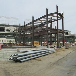 5:10 p.m. View of the new structure in the triangle lot, at Waveland and Clark -