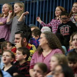 Fans dance in the hopes of getting on the video board as the Salt Lake City Stars play the Los Angeles D-Fenders at the Lifetime Activities Center in Taylorsville on Wednesday, Feb. 08, 2017.