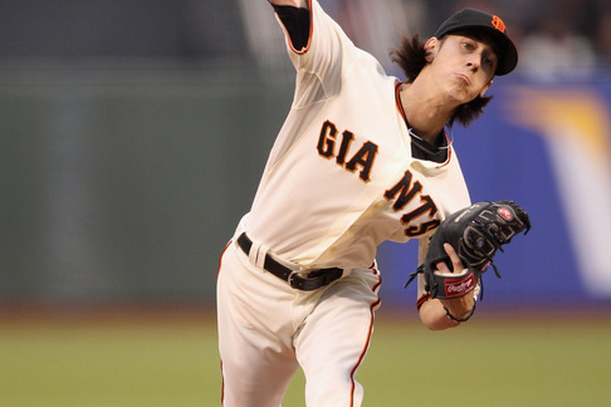 SAN FRANCISCO, CA - APRIL 16:  Tim Lincecum #55 of the San Francisco Giants pitches against the Philadelphia Phillies at AT&T Park on April 16, 2012 in San Francisco, California.  (Photo by Ezra Shaw/Getty Images)