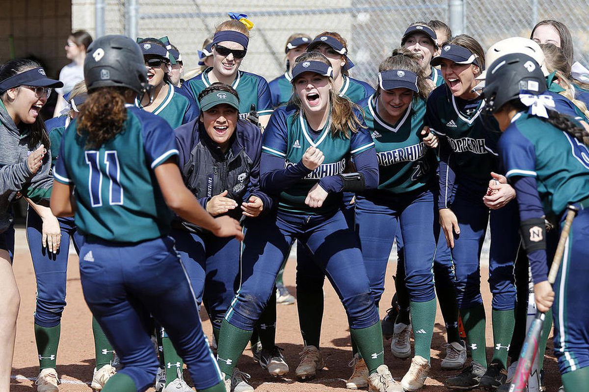 Copper Hills faces West in girls high school softball in Salt Lake City on Tuesday, March 20, 2018.