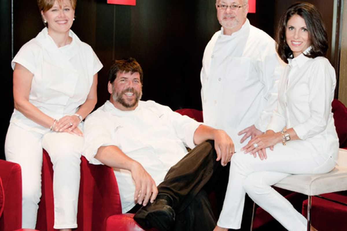 Party in the Kitchen 2012 co-chairs Helen Carlos, Chef Kevin Rathbun, Chef Gerry Klaskala and Mary Harrison.