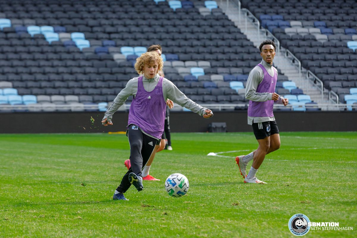 March 10, 2020 - Saint Paul, Minnesota, United States - Minnesota United midfielder Thomás Chacón (11) passes the ball during the Loon's first team practice at Allianz Field.