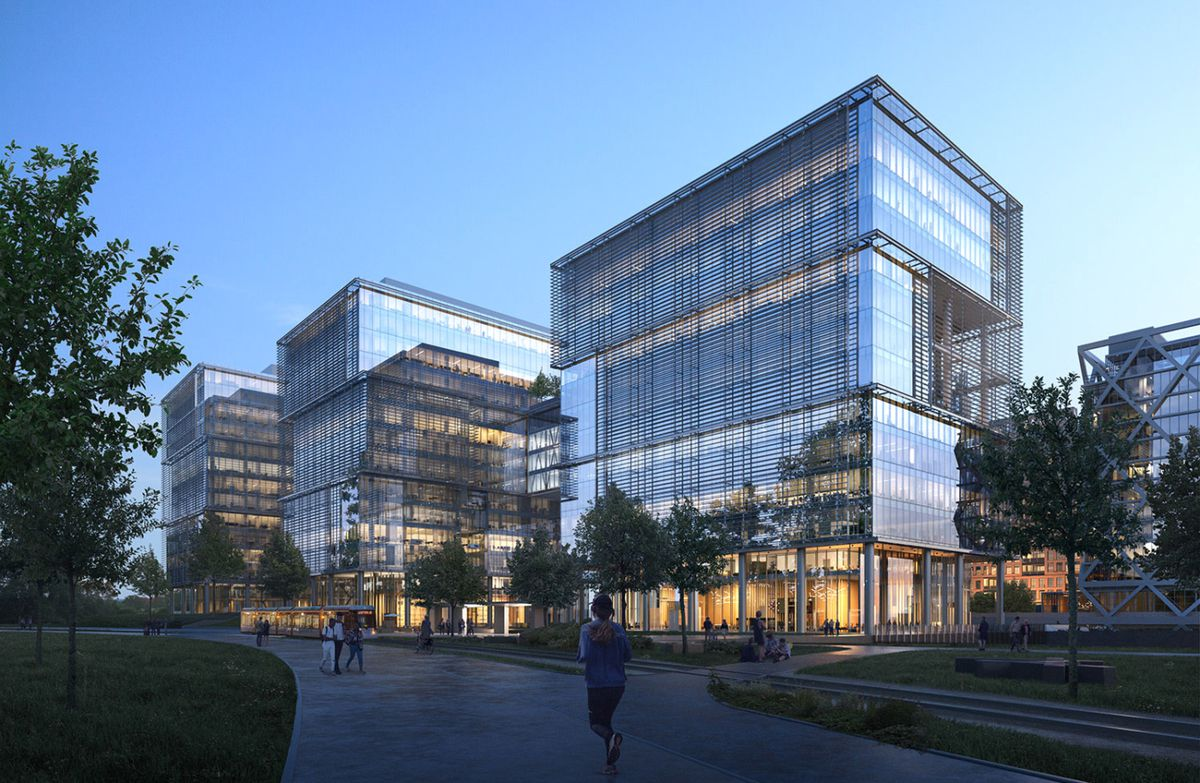 Another rendering shows how some of the glassy modern buildings would look from the ground level.