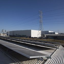 The facility's infamous solar panels have a great view of Los Angeles.