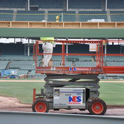 Painter working at Gate Q -