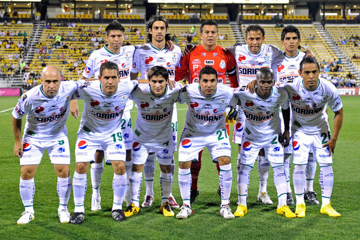 COLUMBUS OH - SEPTEMBER 21:  The starting eleven for Santos Laguna poses for a photo before their game against the Columbus Crew on September 21 2010 at Crew Stadium in Columbus Ohio.  (Photo by Jamie Sabau/Getty Images)