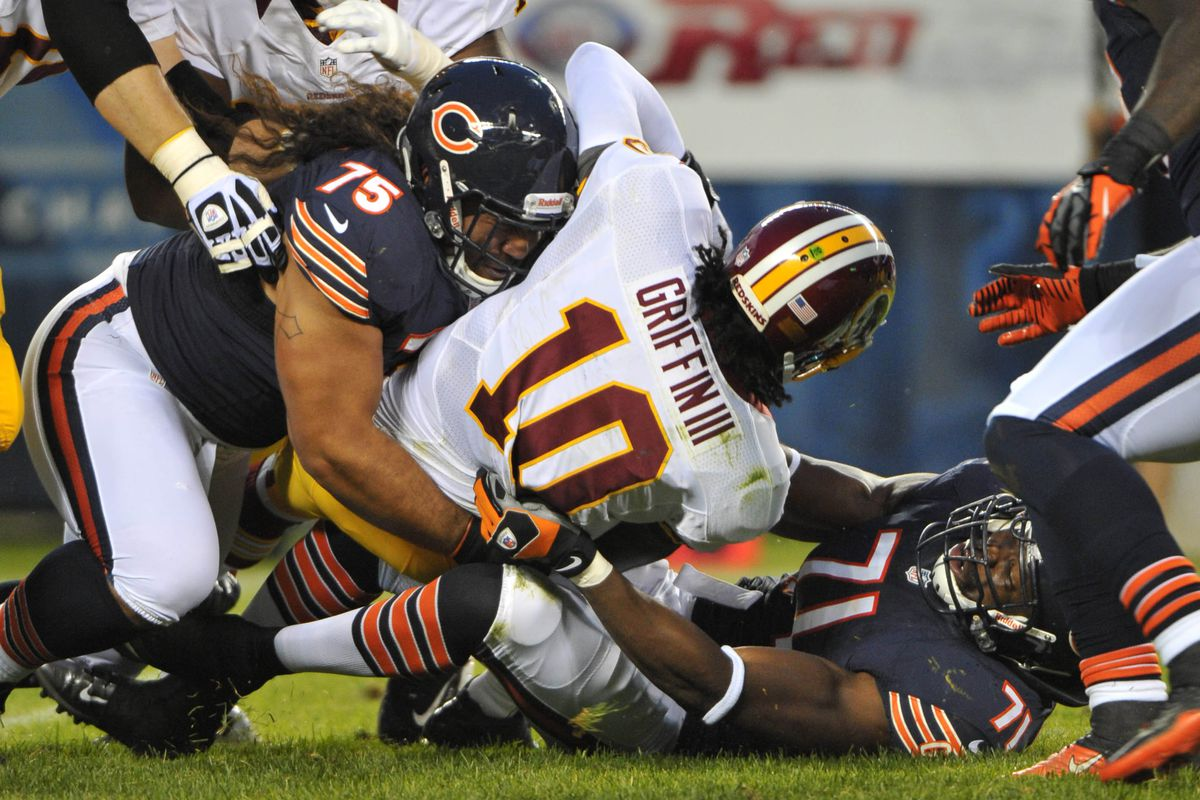 Noted run stuffer Matt Toeaina (#75) flashed some pass rush skill against the Redskins sharing a sack with Isreal Idonije.