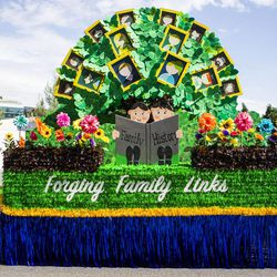 The Riverton Utah South Stake float is pictured during the Days of '47 Union Pacific Railroad Youth Parade held Saturday, July 18, 2015, in Salt Lake City.