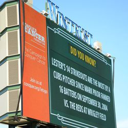 3:52 p.m. Another update on Jon Lester's day, on the left field video board -