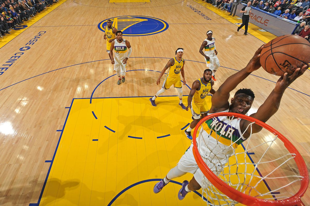 Zion Williamson of the New Orleans Pelicans drives to the basket during the game against the Golden State Warriors on February 23, 2020 at Chase Center in San Francisco, California.