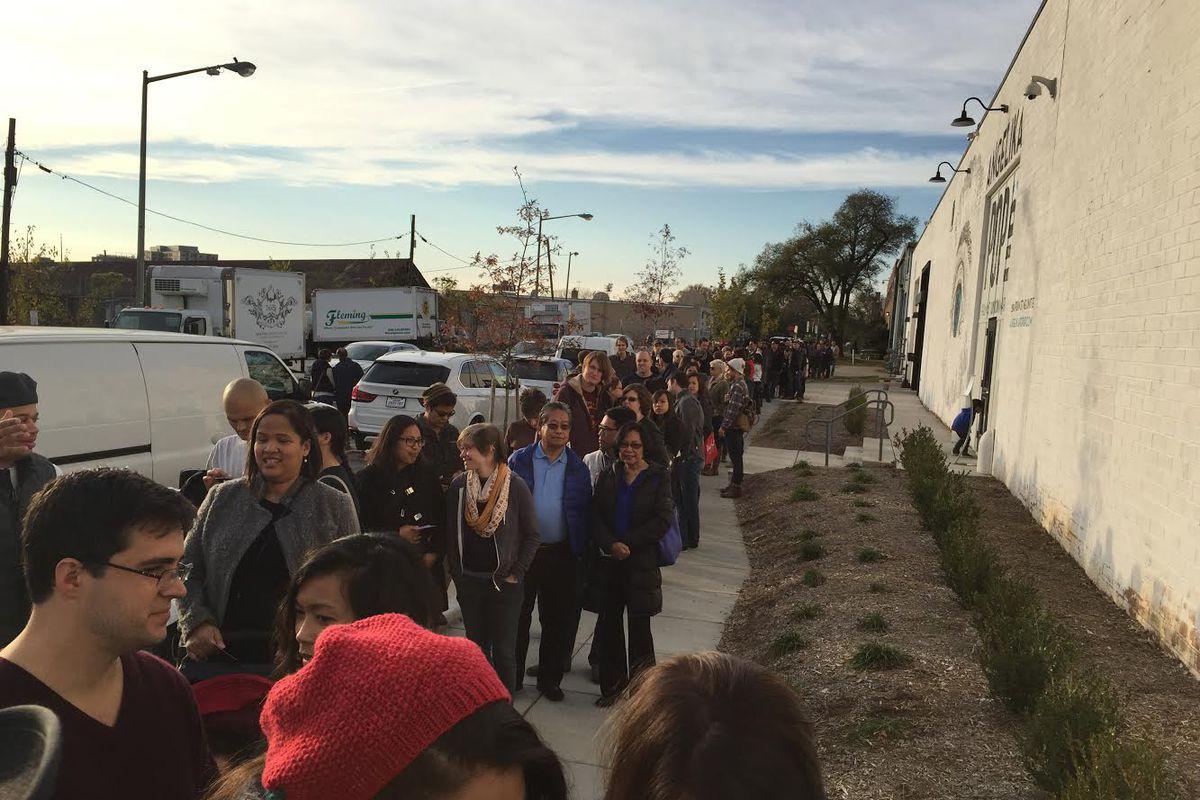 Line outside the Bad Saint pop-up.