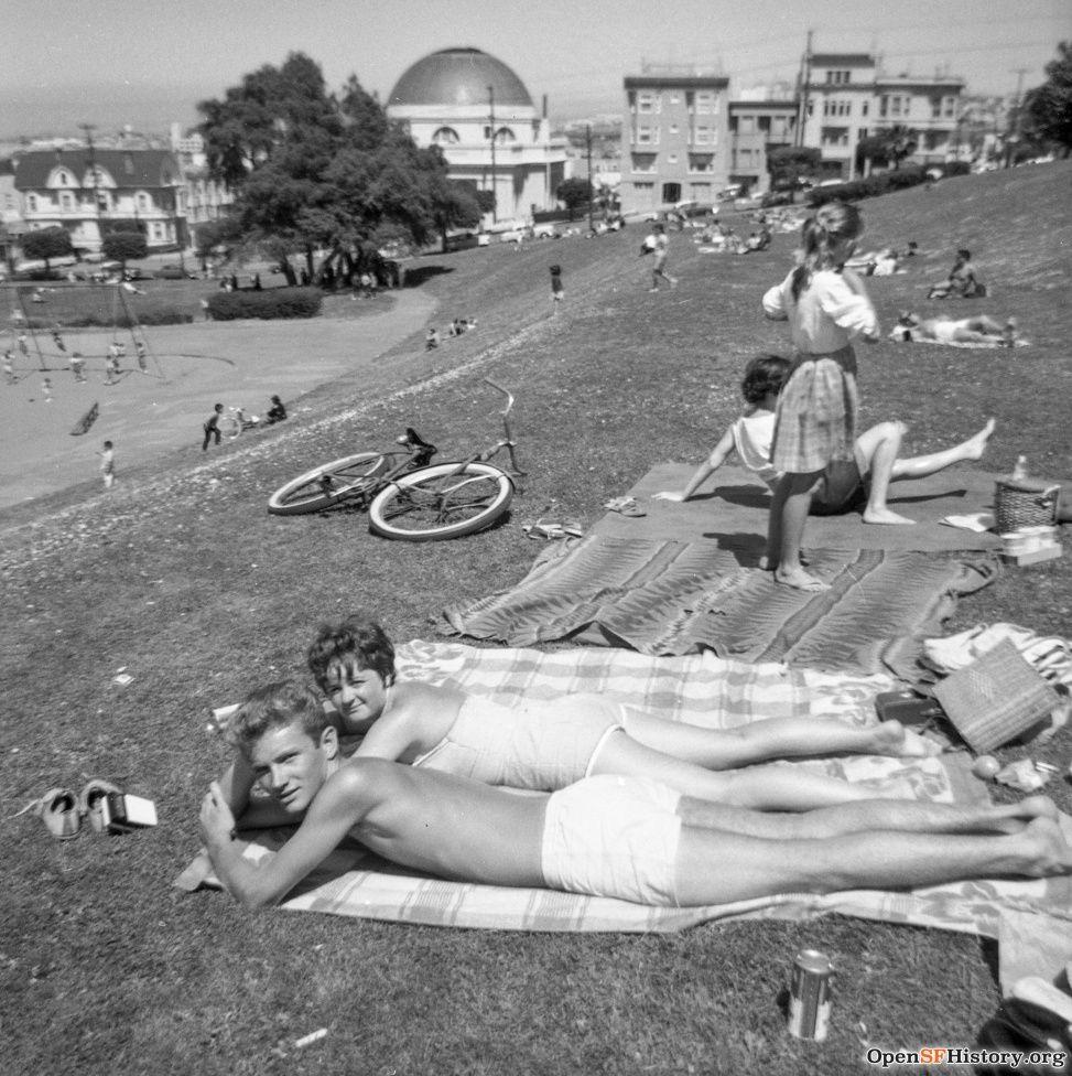 1964: Couple sun bathing in Dolores Park