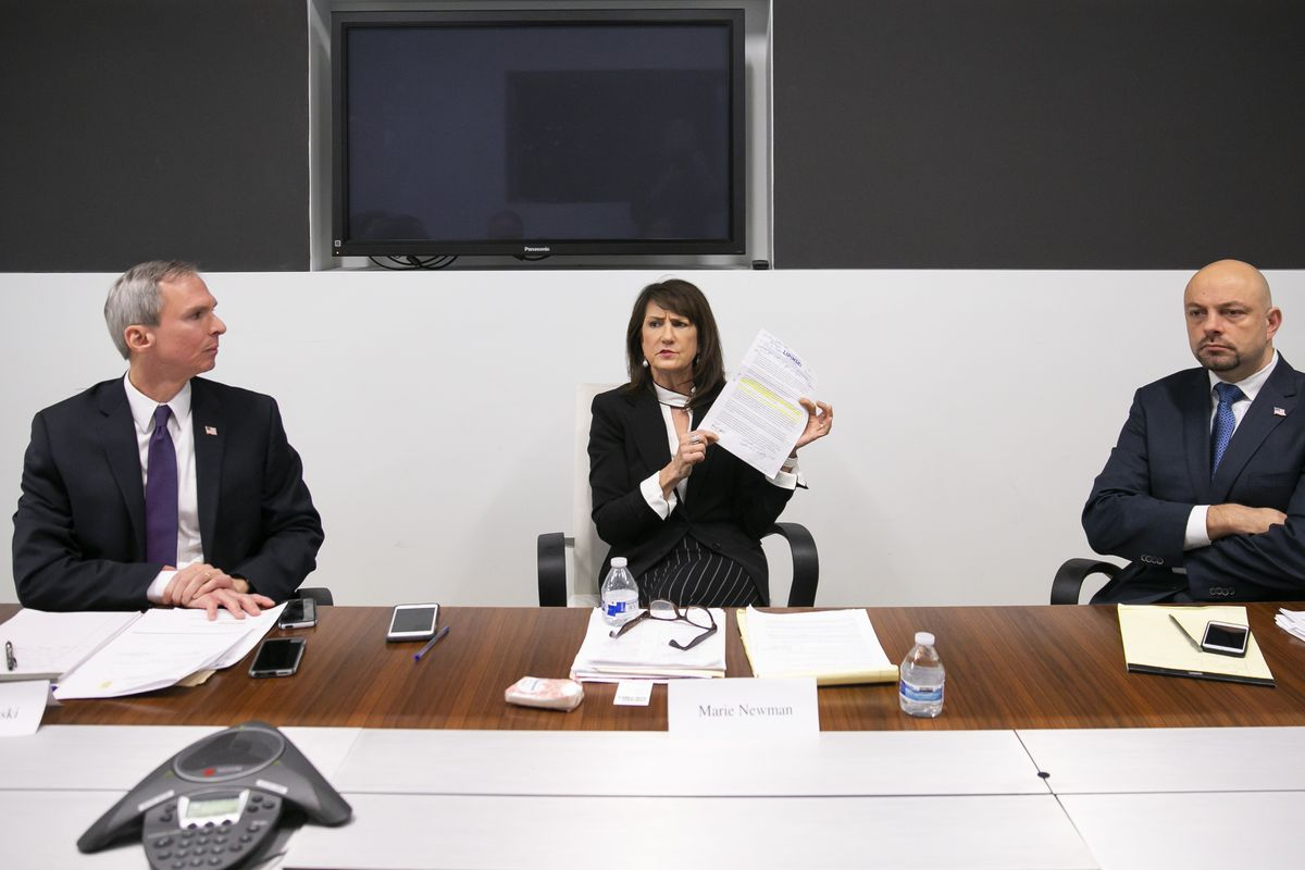 From left, Daniel William Lipinski, 3rd Congressional District candidate and incumbent and his opponents Marie Newman and Rush Darwish met with the Sun-Times Editorial Board Wednesday, January 22, 2019. | Rich Hein/Sun-Times