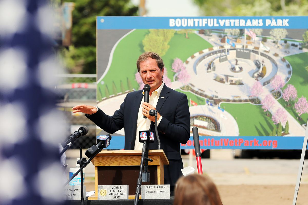 Rep. Chris Stewart, R-Utah, speaks at the groundbreaking for the Bountiful Veterans Parkin Bountiful on Tuesday, May 26, 2020.