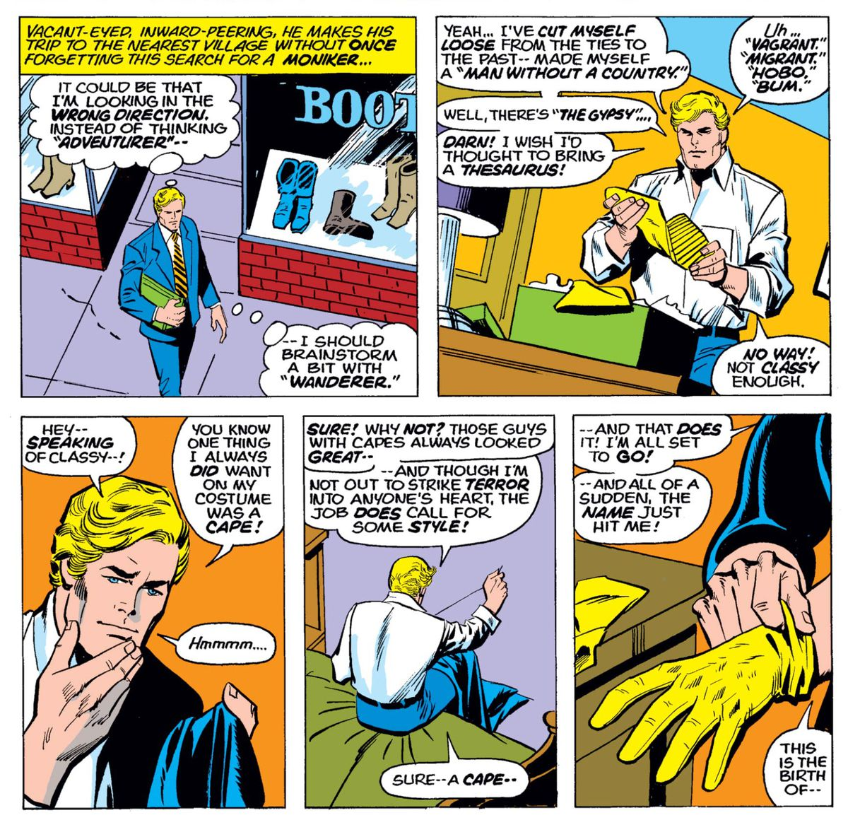 Steve Rogers buys some gloves and boots, and finishes sewing his new costume, in Captain America #180, Marvel Comics (1974).