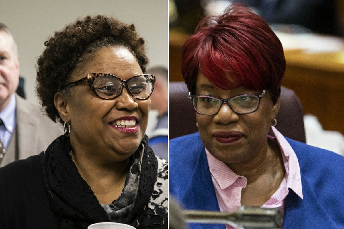 Cook County Clerk Karen A. Yarbrough, left; Ald. Pat Dowell (3rd), right.