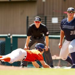 BYU first baseman Colton Shaver prepares to catch the ball during the Cougars' 13-2 loss to Cal State Fullerton in NCAA baseball tournament action on Thursday, June 1, 2017, at Klein Field at Sunken Diamond in Stanford, California.