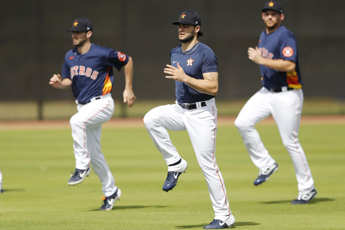 Lance McCullers Jr. of the Houston Astros goes through stretching drills during a team workout at FITTEAM Ballpark of The Palm Beaches on February 13, 2020 in West Palm Beach, Florida.