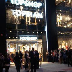 The crowd outside Topshop and Topman