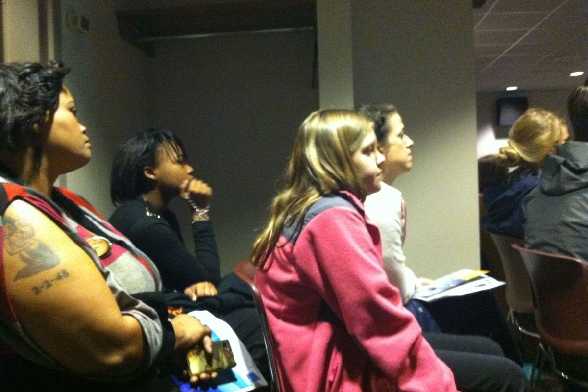 Parents and students at a January informational meeting about a new STEAM school in the Fairview building.