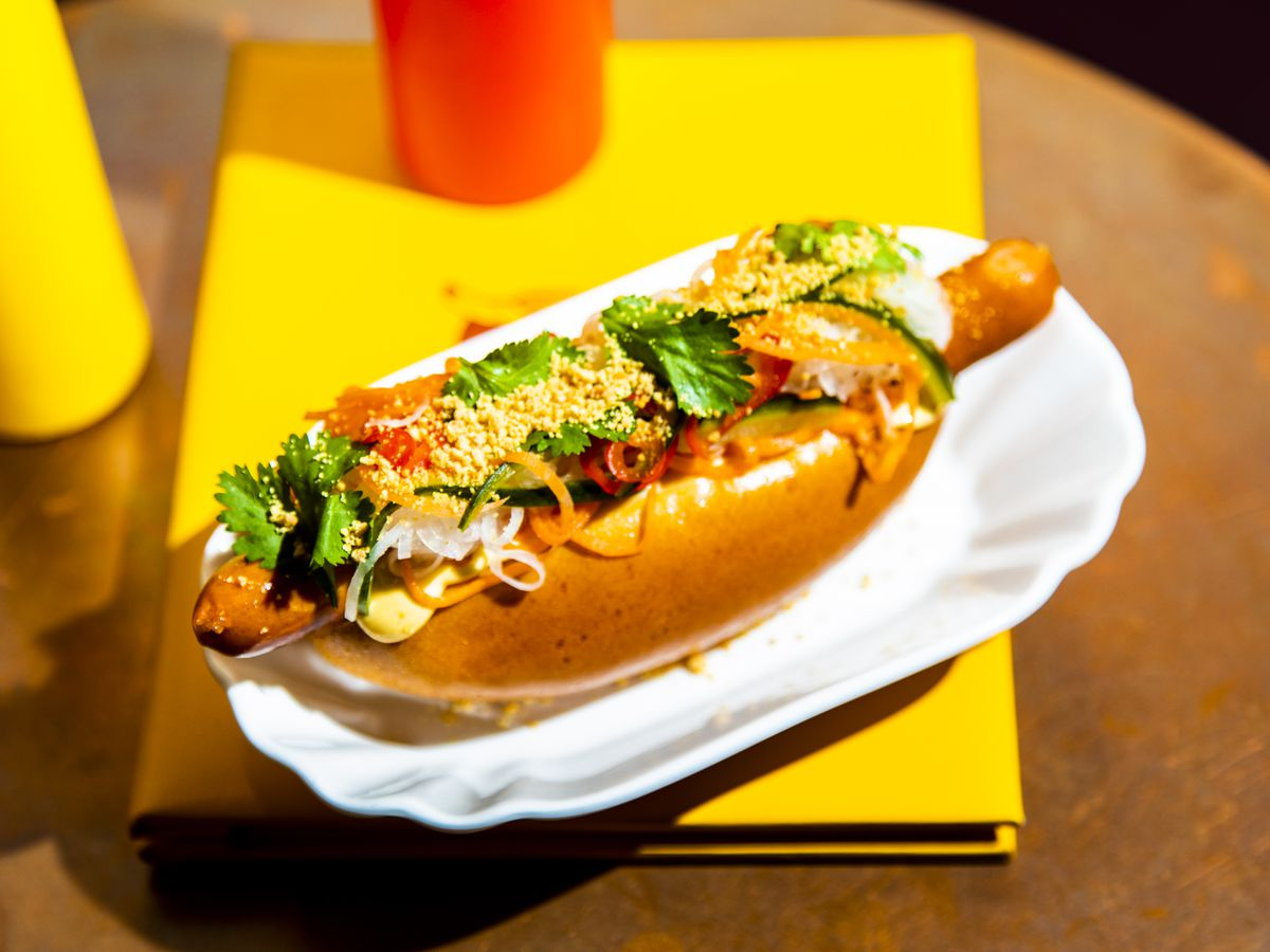 London's best hot dogs include this gourmet hot dog at Bubbledogs in Fitzrovia