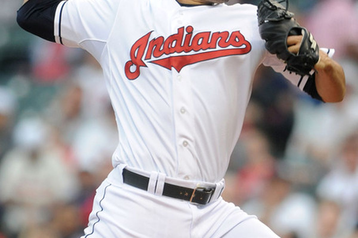 May 4, 2012; Cleveland, OH, USA: Cleveland Indians starting pitcher Jeanmar Gomez (58) throws a pitch during the second inning against the Texas Rangers at Progressive Field.  Mandatory Credit: Eric P. Mull-USPRESSWIRE