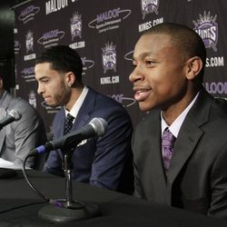 Isaiah Thomas, the Sacramento Kings second round pick, the 60th overall in Thursday's NBA draft, responds to a question as Tyler Honeycutt, the Sacramento Kings second round pick, 35th overall, center, and Jimmer Fredette, the Kings first round pick, 10th overall, look on during a news conference in Sacramento,  California, Saturday, June 25, 2011. Thomas is a 5-9 guard from Washington.  Honeycutt is a 6-8 forward from UCLA and Fredette is a 6-2 guard from BYU.
