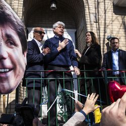 Former Illinois Gov. Rod Blagojevich greets supporters after a news conference outside the family's Ravenswood Manor home the day after he was released from a Colorado prison, Wednesday afternoon, Feb. 19, 2020. President Donald Trump on Tuesday commuted Blagojevich's 14-year prison sentence on charges of public corruption.